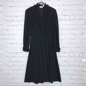 Vintage Black Midi Dress Ruffle Collar and Cuffs